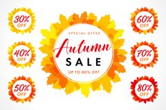 Set of autumn sale lable in frame on orange maple leaves. Fall sale 30, 40, 50, 60, 70, 80% off background, special offer for promotion banner or flyer design stock illustration