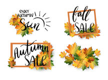 Set of autumn SALE posters in frame design. Fall discount promotion with maple leaves. Bright  Vector Illustration Royalty Free Stock Photos