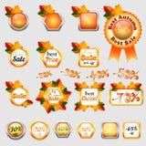 Set of autumn sale stickers Royalty Free Stock Photos