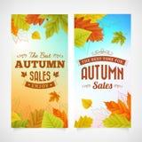 Set autumn sales business banners Stock Photos