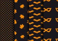 Set autumn seamless backgrounds. Designs for Halloween. Stock Photo