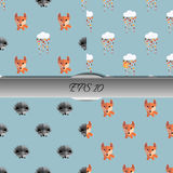 Set of autumn seamless patterns with animals. Nice vector illustration Stock Images