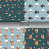Set of autumn seamless patterns with animals. Nice vector illustration Stock Photography