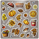 Set of Autumn season cartoon vector stickers. Set of Autumn season cartoon stickers. Vector hand drawn objects and symbols collection. Label design elements Stock Images