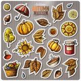 Set of Autumn season cartoon vector stickers Stock Images