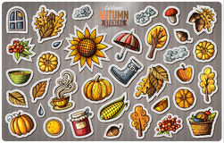 Set of Autumn season cartoon vector stickers. Set of Autumn season cartoon stickers. Vector hand drawn objects and symbols collection. Label design elements Stock Photography