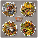 Set of Autumn season cartoon vector stickers. Set of Autumn season cartoon stickers. Vector hand drawn objects and symbols collection. Label design elements Stock Photo