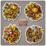 Set of Autumn season cartoon vector stickers. Set of Autumn season cartoon stickers. Vector hand drawn objects and symbols collection. Label design elements Stock Photos