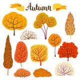 Set of autumn stylized trees. Landscape seasonal illustration Stock Photography
