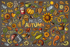 Set of Autumn theme items, objects and symbols. Colorful vector hand drawn doodle cartoon set of Autumn theme items, objects and symbols Royalty Free Stock Image