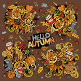Set of Autumn theme items, objects and symbols Stock Photos