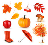 Set of autumn-themed objects. Stock Photo