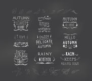 Set of autumn themed retro design elements fall vintage elements Stock Photo