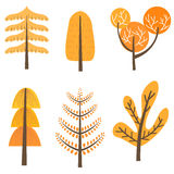 Set of autumn tree illustrations Royalty Free Stock Photo