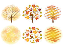Set autumn trees. Royalty Free Stock Photography