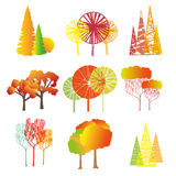 Set of autumn trees. Graphically trees on a white background. Set of autumn trees. Graphically trees Royalty Free Stock Images
