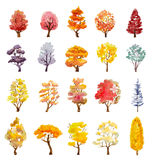 Set of autumn trees. hand drawn watercolor illustration Stock Photography