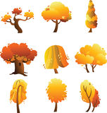 Set of autumn trees isolated on the white background Stock Photos
