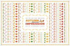 Set of autumn vector brushes with corner tiles. stock illustration