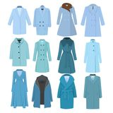 Set of autumn winter models female coat. Vector illustration Stock Images