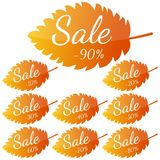 Set of autumn yellow-red leaves with inscription Sale. Discounts from 10 to 90 percent. Stock Image