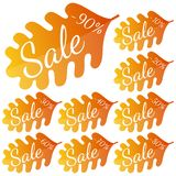 Set of autumn yellow-red leaves with inscription Sale. Discounts from 10 to 90 percent. Vector illustration Stock Photography