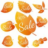Set of autumn yellow-red leaves with inscription Sale. Discounts from 10 to 90 percent. Vector illustration Stock Photo
