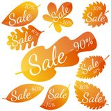 Set of autumn yellow-red leaves with inscription Sale. Discounts from 10 to 90 percent. Vector illustration Royalty Free Stock Photos
