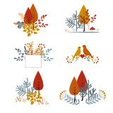 Set of autumnal floral cards with abstract leaves, trees, and birds.  Stock Image