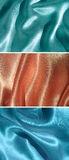 Set av 3 draperade satängbakgrunder Royaltyfria Foton