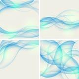 Set av abstrakt bakgrunder med blåa waves. Vecto Arkivfoto
