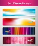 Set av abstrakt färgrika rengöringsduktitelrader. vektor illustrationer