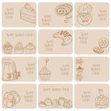 Set av affärskort - Cakes, sötsaker och efterrätter Royaltyfria Bilder