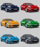 Set av bilar stock illustrationer