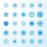 Set av blåa snowflakes Arkivfoto