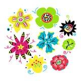 Set av blom- element stock illustrationer
