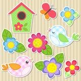 Set av blommor och fåglar Royaltyfri Fotografi