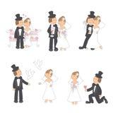 Set av bröllopillustrationen Arkivfoton