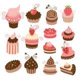 Set av cakes stock illustrationer