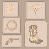 Set av cowboyobjekt Royaltyfria Bilder