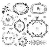 Set av dekorativa ramar. 也corel凹道例证向量 免版税图库摄影