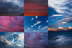Set av den dramatiska skyen Fotografering för Bildbyråer