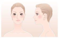 Set av den härliga den kvinnaprofilen, framdelen och sidan royaltyfri illustrationer