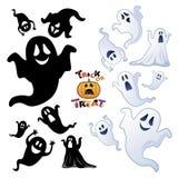 Set av den Halloween spöken, spökesilhouette Royaltyfria Foton