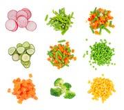Set av den olika fryste grönsaken Arkivfoton