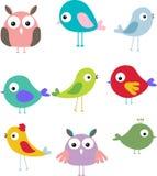 Set av den olika gulliga fågeltecknad film Vektor Illustrationer