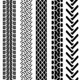 Set av detaljerade gummihjultryck Arkivfoto