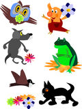 Set av djura symboler och tecknad film Royaltyfri Bild