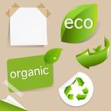 Set av Eco vänliga etiketter Fotografering för Bildbyråer