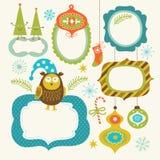 Set av element för jul och för nytt år stock illustrationer